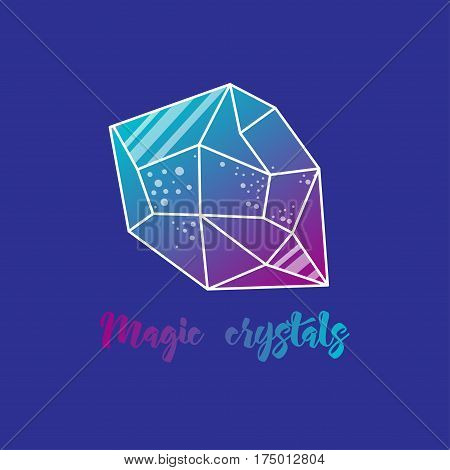 Magic crystals of pyramidal shape. Tribal precious stones with trend gradients.