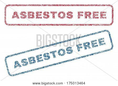 Asbestos Free text textile seal stamp watermarks. Blue, red fabric vectorized texture. Vector tag inside rounded rectangular shape. Rubber emblem with fiber textile structure.