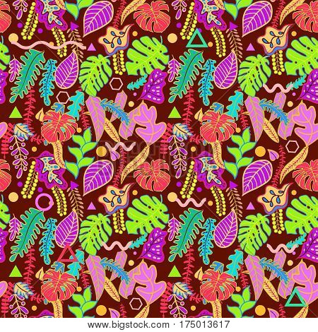 Tropical vibrant background with tropical leaves print seamless pattern. Vibratory pink colors of the jungle in the style of memphis, punk, neurofunk, trance, rave. Fashionable decorative textures