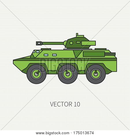 Line flat color vector icon infantry assault armored army truck. Military vehicle. Cartoon vintage style. Soldiers. Tank corps. Tractor unit. Tow auto. Simple. Illustration and element for design. War