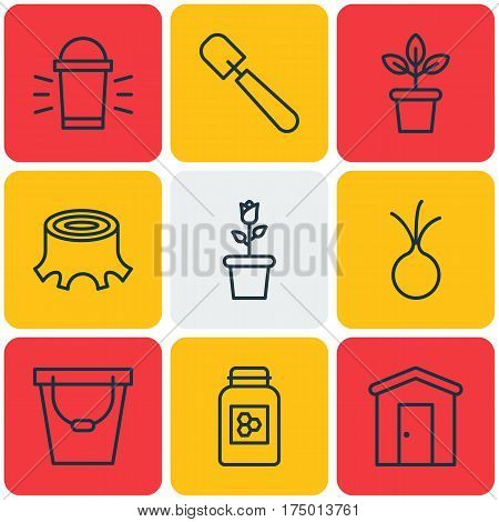 Set Of 9 Farm Icons. Includes Jar, Flowerpot, Shovel And Other Symbols. Beautiful Design Elements.