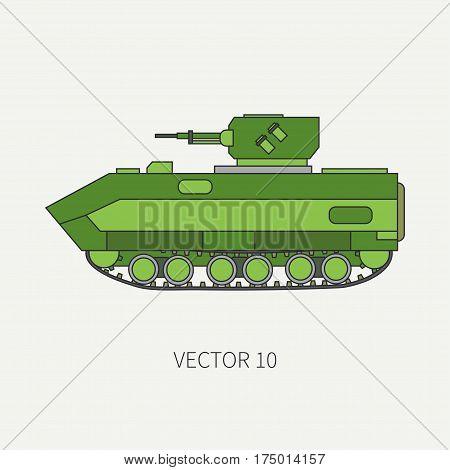 Line flat color vector icon infantry assault armored army truck. Military amphibious vehicle. Cartoon vintage style. Soldiers. Gun turret. Tractor unit. Tow. Simple. Illustration, element for design.