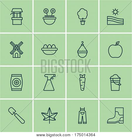 Set Of 16 Agriculture Icons. Includes Water Source, Rubber Boot, Autumn Plant And Other Symbols. Beautiful Design Elements.