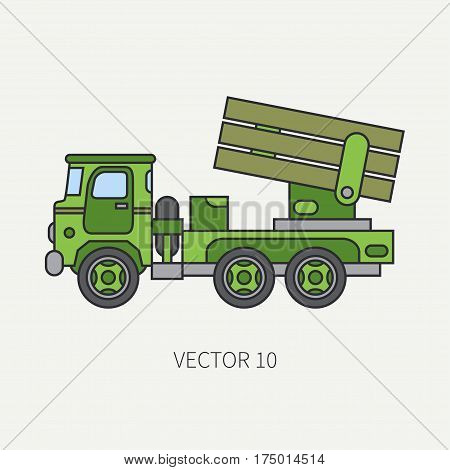 Line flat color vector icon armored reactive systems of salvo army truck. Military vehicle. Cartoon vintage style. Missiles. Mortar. Tractor unit. Tow auto. Simple. Illustration and element for design