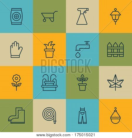 Set Of 16 Farm Icons. Includes Barrier, Spigot, Fire Tube And Other Symbols. Beautiful Design Elements.
