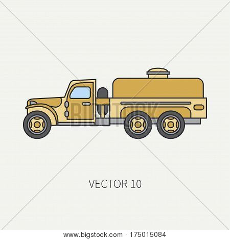 Line flat color vector icon service staff refueller army truck. Military vehicle. Cartoon vintage style. Cargo transportation. Tractor unit. Tow auto. Simple. Illustration and element for design. Road