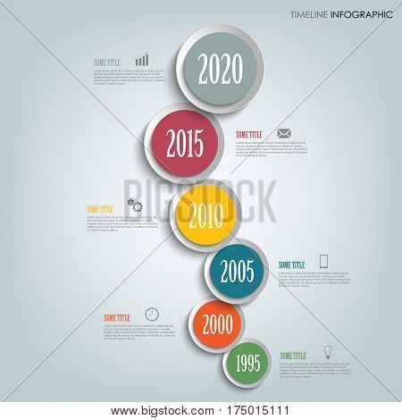 Time line info graphic vertically with round design indicators template vector eps 10