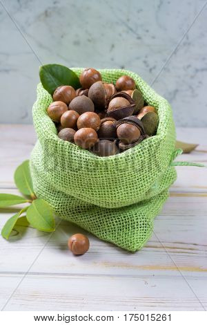 Macadamia nuts harvest close up with leaves