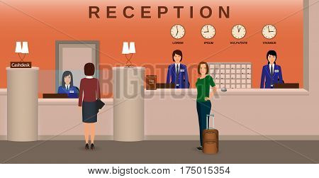 Hotel reception interior with employee and guests. Concierge desk and cashbox. Resort welcoming concept. Flat vector illustration.