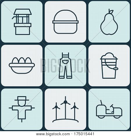 Set Of 9 Farm Icons. Includes Package, Ovum, Duchess And Other Symbols. Beautiful Design Elements.