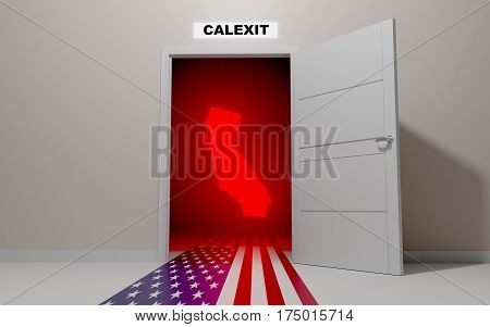 California want's to leave (exit) the United States of America. CALEXIT. 3D rendering.