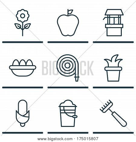 Set Of 9 Planting Icons. Includes Rake, Ovum, Taste Apple And Other Symbols. Beautiful Design Elements.