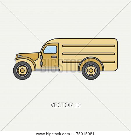 Line flat color vector icon service staff army van. Military all-terrain vehicle. Cartoon vintage style. Cargo transportation. Tractor unit. Tow auto. Simple. Illustration and element for design. Road