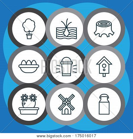 Set Of 9 Holticulture Icons. Includes Hang Lamp, Jug, Ovum And Other Symbols. Beautiful Design Elements.