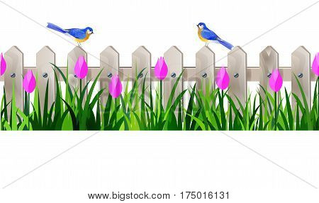 Green Grass and white wooden fance seamless isolated clip art vector on white with rose tulips and bluebirds