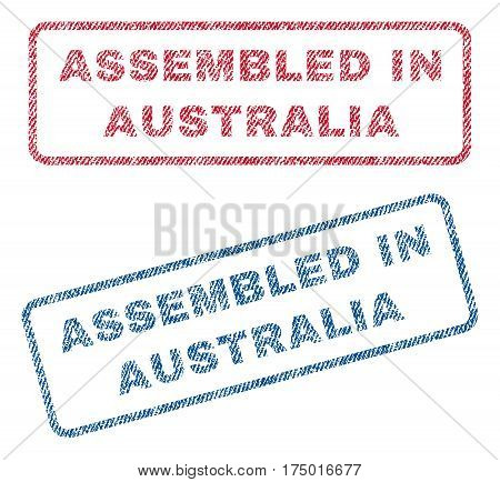 Assembled In Australia text textile seal stamp watermarks. Blue, red fabric vectorized texture. Vector caption inside rounded rectangular banner. Rubber emblem with fiber textile structure.