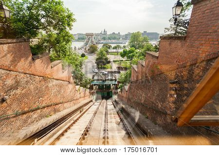 Budapest Castle Hill Funicular. Hungary. Photos from the cab. Gypsy rises