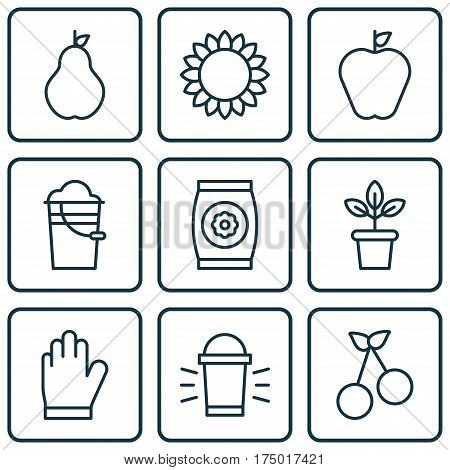 Set Of 9 Garden Icons. Includes Bucket, Helianthus, Protection Mitt And Other Symbols. Beautiful Design Elements.