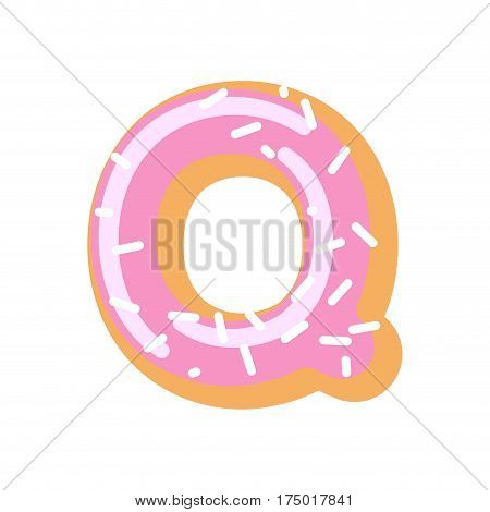Letter Q Donut Font. Doughnut Alphabet. Sweet Lettering. Candy Abc Sign