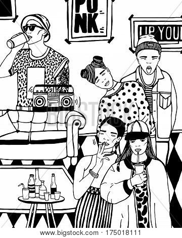 hand drawn black and white illustration. Home party with dancing, drinking young people, music.