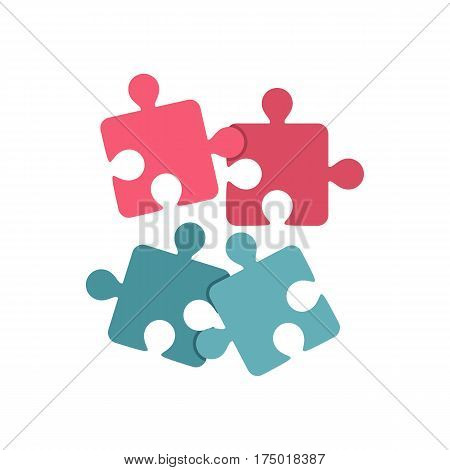 Jigsaw puzzles icon in flat style isolated on white background vector illustration