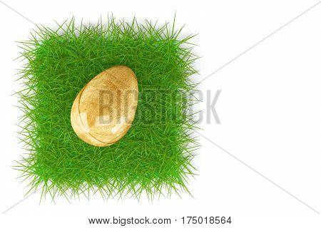 Easter egg on fresh green grass isolated on white background. 3d rendering