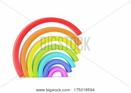 Abstract cartoon styled plastic rainbow isolated on white background. 3d rendering