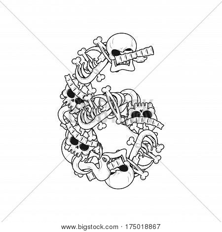 Number 6 Skeleton. Bones Font Six. Anatomy Of An Alphabet Symbol. Dead Abc Sign