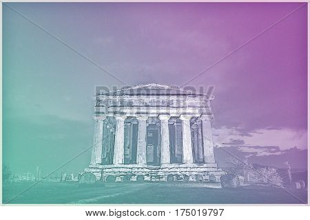 Antique greek temple of Concordia in the Valley of Temples, Agrigento, Sicily, Italy, at night Modern Painting. Brushed artwork based on photo. Background texture.