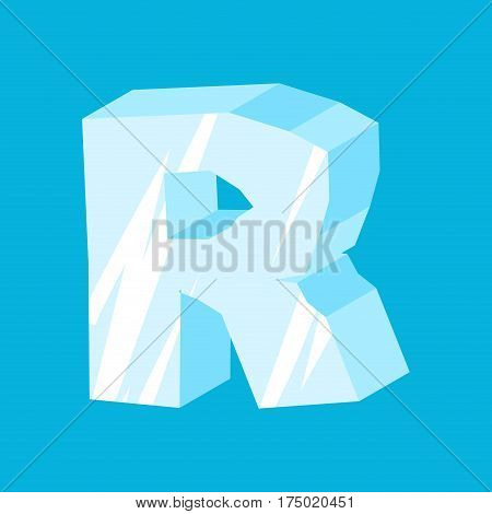 Letter R Ice Font. Icicles Alphabet. Freeze Lettering. Iceberg Abc Sign
