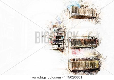 Library setting with books and reading material. Titles are not legible. Modern Painting. Brushed artwork based on photo. Background texture.