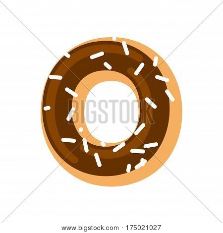 Letter O Donut Font. Doughnut Alphabet. Sweet Lettering. Candy Abc Sign