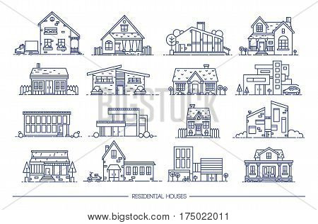 Line art residential house collection. Contour vector illustration. Set of flat style.
