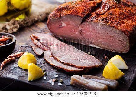 Beef Pastrami Sliced, Roasted Beef, Slow Cooking, On Wooden Board.