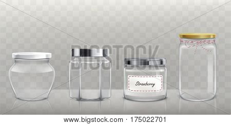 Set of vector illustrations various packing empty glass jars with lids in realistic style
