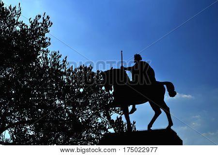 Silhouette of king Tomislav statue in Zagreb Croatia