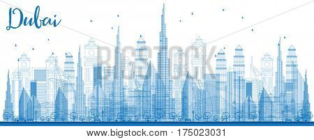 Outline Dubai Skyline with City Skyscrapers. Front View Through Buildings. Business Travel and Tourism Concept with Modern Architecture. Image for Presentation Banner Placard and Web Site