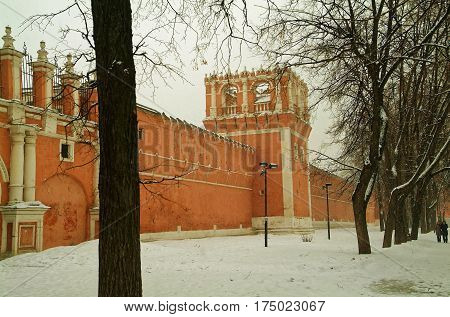the old monastic tower in Moscow the snowfall