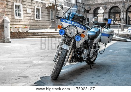 Rome Italy 14 Jul 2013 - police bike supplied to the italian Polizia Municipale officers