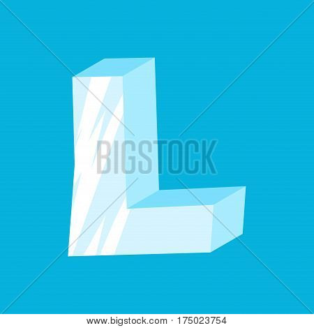 Letter L Ice Font. Icicles Alphabet. Freeze Lettering. Iceberg Abc Sign