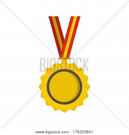 Medal icon in flat style isolated on white background vector illustration