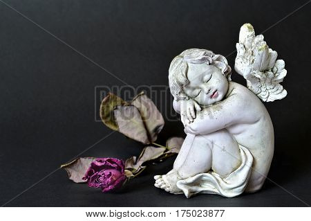 Angel figurine and wilted and dead rose