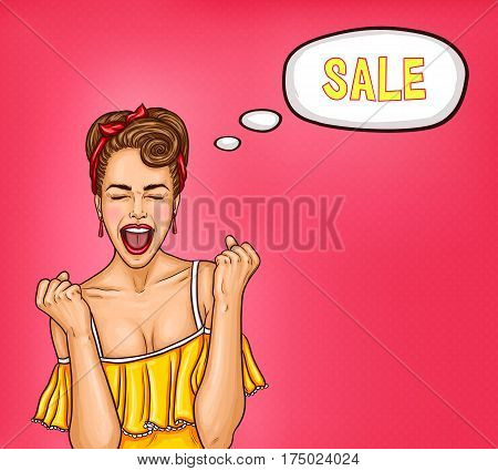 Vector pop art illustration of an enthusiastic sexy woman thinking about a sale. An excellent advertising poster for the announcement of discounts and sales in the style of pop art