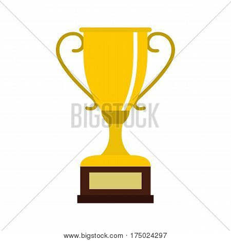Winning gold cup icon in flat style isolated on white background vector illustration