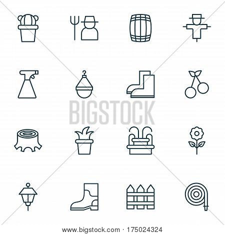 Set Of 16 Plant Icons. Includes Bugbear, Rubber Boot, Barrier And Other Symbols. Beautiful Design Elements.