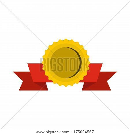 Medal with ribbon icon in flat style isolated on white background vector illustration