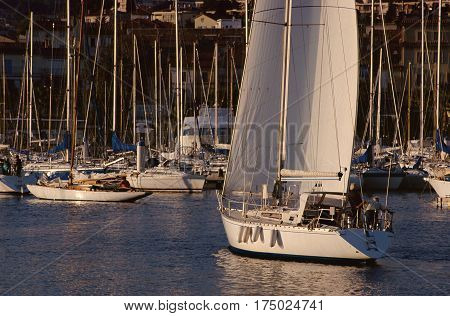 Sailboat sailing in Bandol marina French riviera France