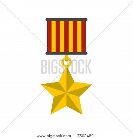Medal star icon in flat style isolated on white background vector illustration