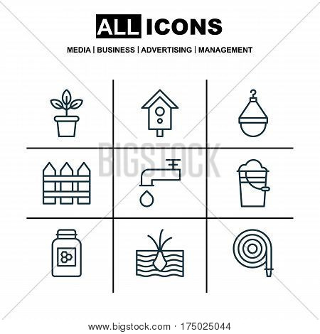 Set Of 9 Gardening Icons. Includes Flowerpot, Jar, Bucket And Other Symbols. Beautiful Design Elements.