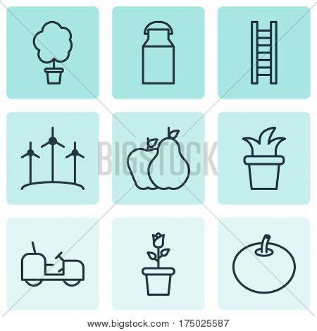 Set Of 9 Gardening Icons. Includes Agrimotor, Fruits, Bush Pot And Other Symbols. Beautiful Design Elements.